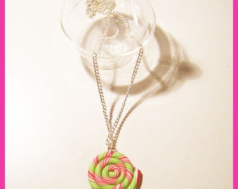 Polymer clay and polymer clay polymer berlingots lollipop necklace