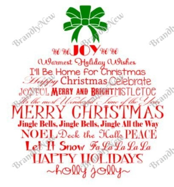 Christmas Ornament Word Art Design Svg Png Dxf Download File For Cricut Or Silhouette