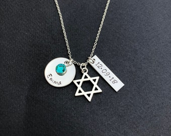 Personalized Star of David Necklace - Bat Mitzvah Necklace with Name, Date & Birthstone - Personalized Bat Mitzvah Necklace-Bat Mitzvah Gift