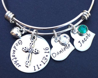Godmother Gift- Godmother Jewelry- Hand Stamped Jewelry- Bangle- Godmother Bracelet- Godparent- Christening- Baptism- Confirmation- Mom Gift