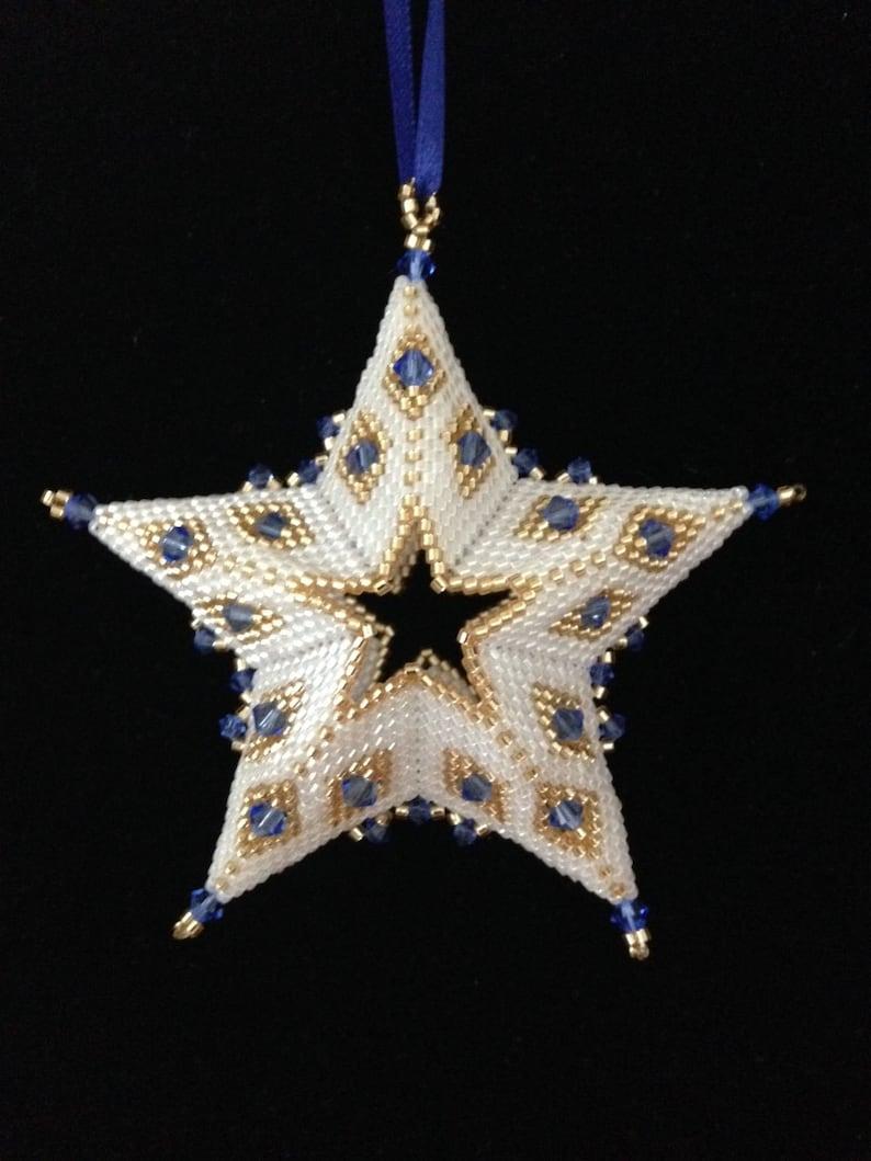 e74259c61 3D Beaded Star Christmas Ornament Pattern Tutorial PDF | Etsy