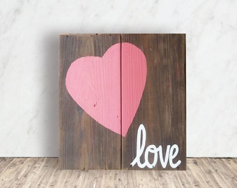 Personalized Valentines Sign - Love Wood Sign - Valentine's Day Gift - Heart Love Sign - 5th Anniversary Sign - Valentines Gift Idea
