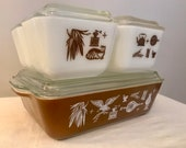 Pyrex Early American Refrigerator Dishes - Complete Set with Lids