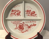 Vintage Fire King Vitrock Red Little Bo Peep Divided Child 39 s Baby Dish Plate