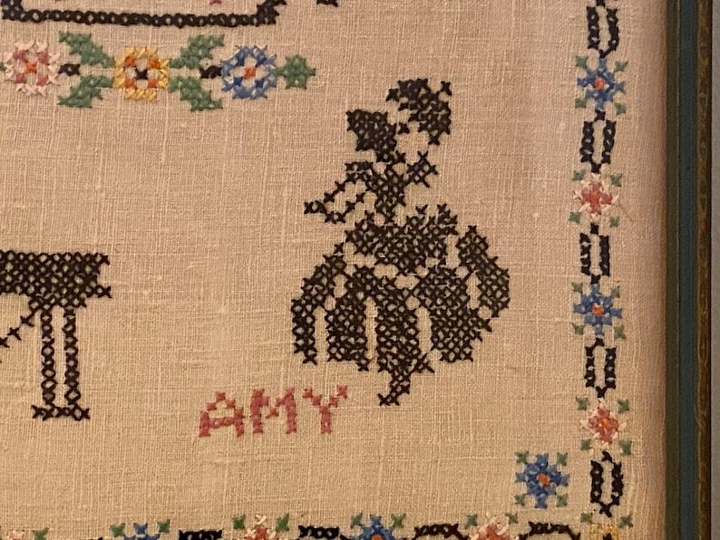 Little Women 1933 Vintage Cross Stitch Under Glass