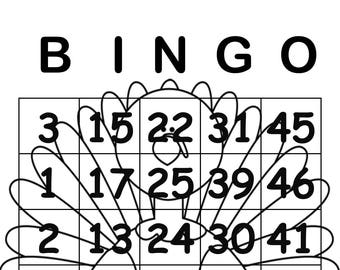 Coloring Page Thanksgiving Themed Bingo Cards- Set of 30 Cards