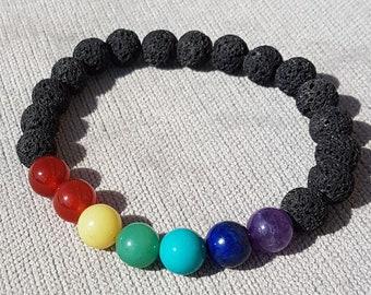 Unisex Lava Rock Chakra Crystal Bracelet for Protection with Reiki