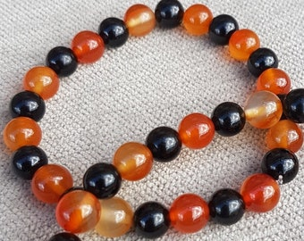 Black Tourmaline & Orange Carnelian Crystal Bracelet with Reiki