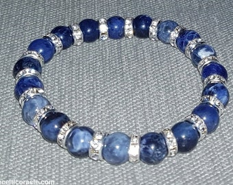 Blue Sodalite Crystal Bracelet - Protection Reiki