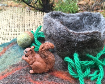 Wet Felted Woodland Squirrel Play Mat