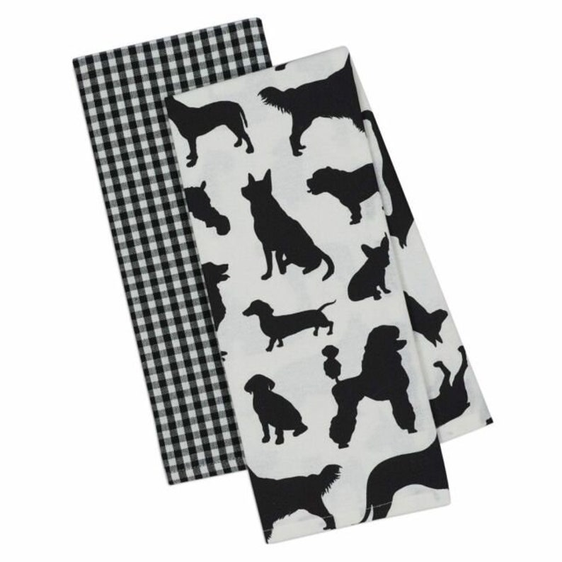 Dog Breed Silhouette and Plaid Towel Set
