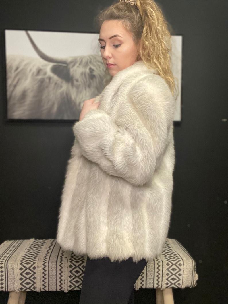 Vintage White Faux Fur Coat