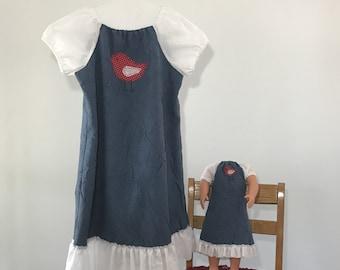 9bd074ac9 Free Shipping, Matching Girl Doll Clothing, Girls Dress Size 7 - 8, Medium,  18 Inch Doll Clothes, American Made Dress, Blue Dress