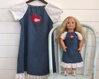 e4b7fda14 Free Shipping, Matching Outfits For Girls, Girl And Doll Dress, America  Made, Girls Size 6, Size Small, 18 Inch Doll, Blue Dress, Dress