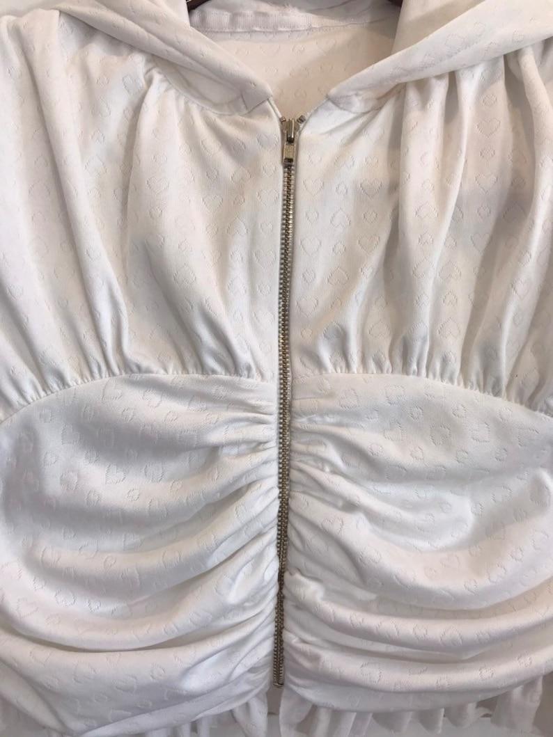 White Hearts Ruched Hoodie Girls Hoodie Hoodie Zipped Hoodie Free shipping Size 7-8 Medium Girls Jacket White Hoodie