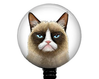 Grumpy Cat Badge Reel, Retractable Badge Holder, Stethoscope ID Tag, Name Clip, Nurse Badge Reel, Grumpy Carabiner, 257B