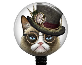 Grumpy Cat Badge Reel Nurse Retractable ID Holder Steampunk Badges Name Clips Steam Punk Carabiner  Stethoscope Tag 332A