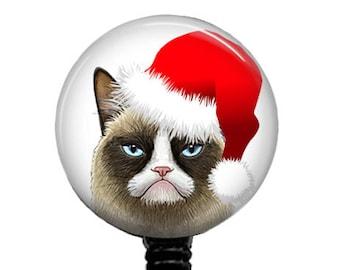 Christmas Grumpy Cat Red Santa Hat Badge Reel Retractable Badge Holder 309B