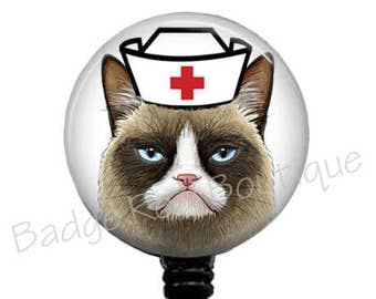 RN Grumpy Cat Badge Reel, Nurse Grumpy Cat Badge Holder, Retractable Badge Reel, ID Badge Reel, Nurse Badge Reel, Name Badge Reel, 256B