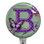 Personalized Badge Reel, Retractable Badge Holder for Nurse - Teacher - Dental - Office Professionals - Purple Flowers & Butterfly, 572