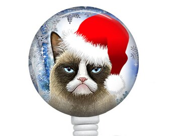 Christmas Grumpy Cat Badge Reel, Nurse Badge Holder, Retractable Badge Reel, ID Badge Reel, Nurse Badge Reel, Name Badge Reel, 310B