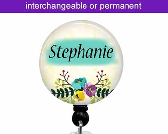 Interchangeable Badge Reel ~ Personalized Floral Badge Holder ~ Retractable Badge Reel ~ Badge Clip ~ ID Card Holder ~ Change Out Tops ~ T2