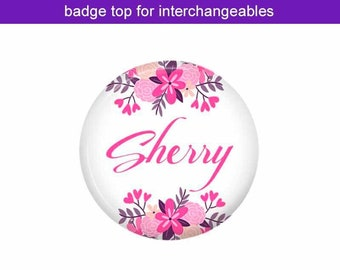 Pink Floral Badge Top for Interchangeable Badge Reels ~ Badge Holder ~ Nursing Badge ~ Teacher Badge ~ Stethoscope Tag ~ Lanyard ~ T3