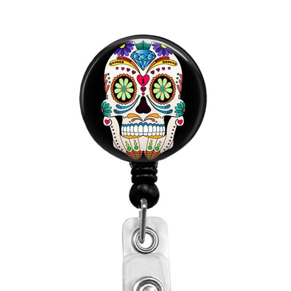 Retractable Badge Reel Name Tag ID Pull Clip Holder Lanyard Sugar Skull Muertos