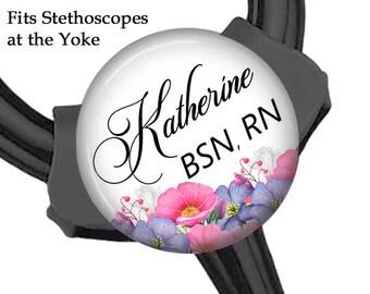 Yoke Tag ~ Stethoscope Tag ~ Personalized ~ Nurse BSN RN ~ Floral ~ Flowers ~ T51