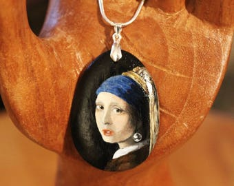 Hand-Painted Girl with a Pearl Earring, Johannes Vermeer necklace