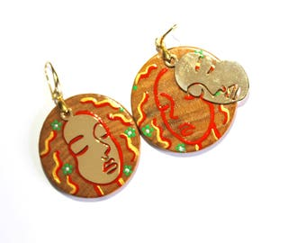 Hand-painted artsy face earrings
