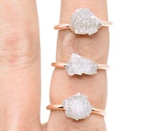 RAW QUARTZ Crystal Cluster Ring // crystal ring / Quartz ring / APRIL Birthstone / Geode Ring / Silver Quartz / Gold Quartz / Copper Quartz