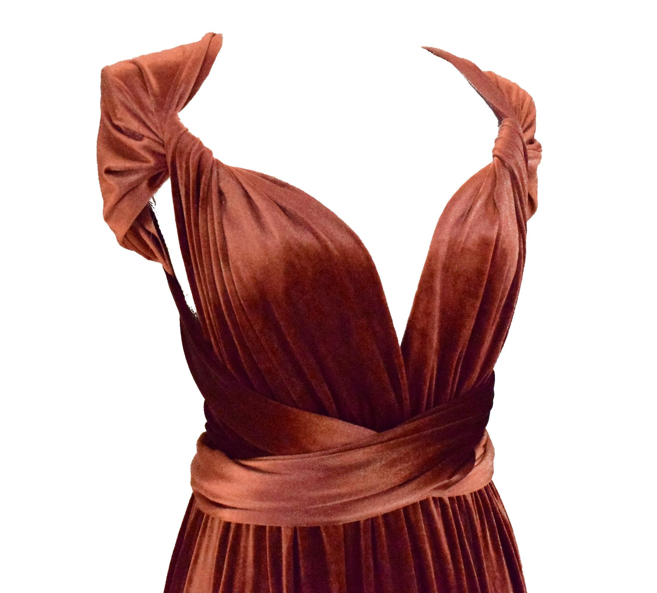 PLUM VELVET Infinity Dress Bridesmaids Dress Convertible Dress  Multiway Dress Multiway Wrap Dress  Velvet Bridesmaids Dress