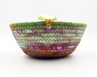 Hand Dyed Fabric Coiled Rope Basket, Green Purple Fabric Bowl, Medium Storage Bowl, Round Fabric Dish, Laura Loxley 7.75 x 5 x 3.125 Inches