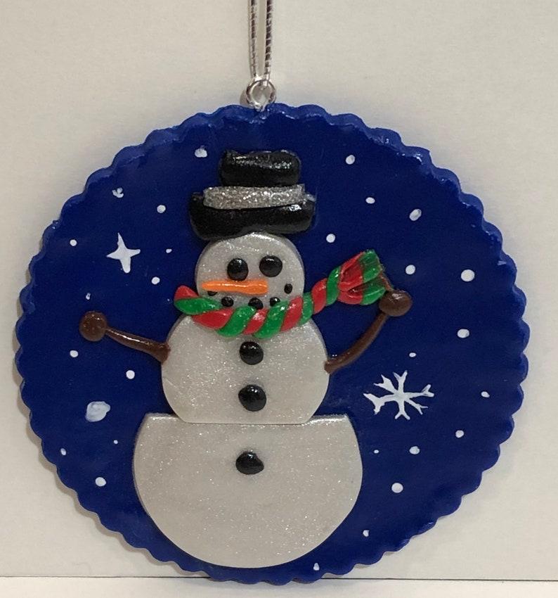 Snowman #3 Christmas Ornament Polymer Clay