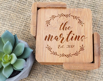 Personalized Coasters, Custom Coasters, Coaster Set of 6, Bamboo, Laser Engraved, Last Name, Wedding Gift, Present, Housewarming, New House