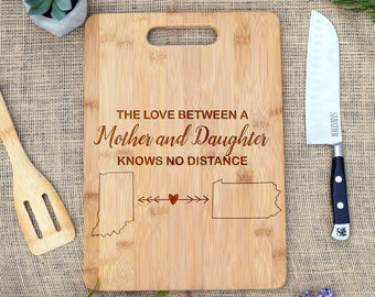 The Love Between a Mother & Daughter Knows No Distance Custom Cutting Board, Mother Daughter Gift, Long Distance, Moving Gift, Mother's Day