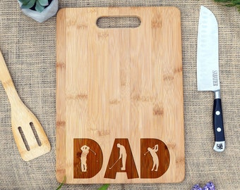 DAD Cutting Board w/ Golf Figures, Personalized, Cheese Board, Father's Day Cutting Board, Dad Birthday, Golfer, Gift for Dad, Golf Gift