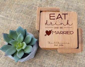 Eat Drink & Be Married Coasters, Custom Coasters, Personalized Coasters, Coaster set, Engraved, Wedding, Wedding Shower, Bridal Shower, Gift