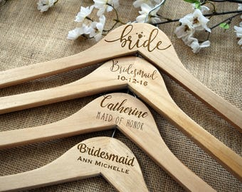 Wedding Dress Hanger, Bridal Hangers, Custom, Personalized, Bride, Maid of Honor, Bridesmaid, Engraved, Wooden, Bridal Party, Wedding Party