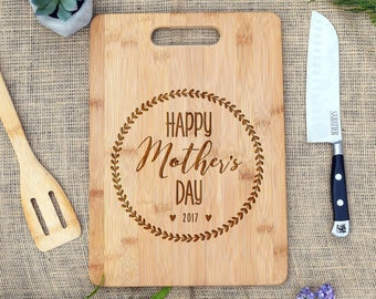 Happy Mother's Day Cutting Board, Cheese Board, Engraved, Mother's Day Gift, Present, Mom, Gift for Mom, Gift from Kids, Our Board Boutique