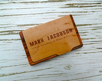 Custom card holder etsy custom business card holder personalized business card holder laser engraved corporate gift new job gift graduation gift fathers day reheart Images