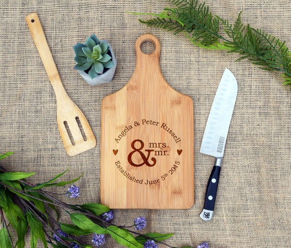 Mr & Mrs Paddle Board Custom Cutting Board Personalized