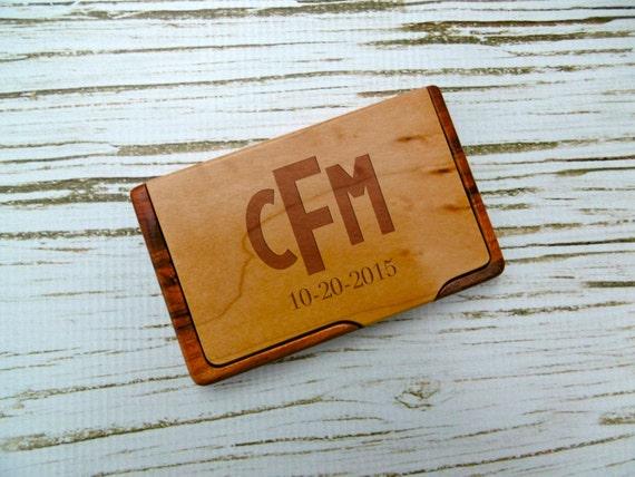 Monogram business card holder custom business card holder etsy image 0 reheart Choice Image
