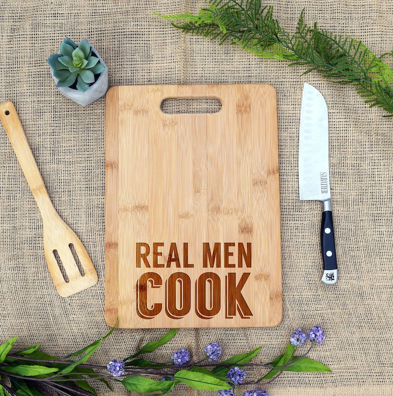 Real Men Cook Cutting Board Cheese Fathers