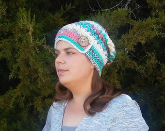 Multi-Color Slouchy Beanie, Womens Slouchy Hat, Slouchy Beanie, Womens Slouchy Hat, Slouchy Winter Hat, Slouch Hat, Crochet Slouchy Hat