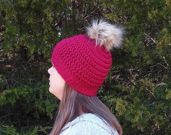 f895c602e Red pom pom hat | Etsy