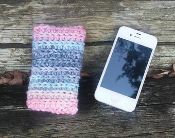 Phone Sleeve, iPhone Sleeve, Phone case, Multi Color Phone Sleeve, Phone Cozy, iPhone Case, Crochet Phone Case, Pink Case, Electronic Case