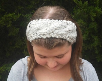 Chunky Knit Headband, Chunky Knit Ear Warmers, Tweed Headband, Knit Headband, Winter Headband, Warm Headband, Cable Knit Headband