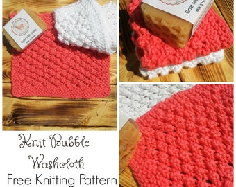 Bubble Washcloth Knit Pattern, Free Knitting Pattern, PDF Knit Pattern, Knit Washcloth Pattern, Knitting Pattern, Instant Download